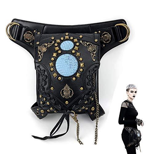 Insone Steampunk Bag Leder Vintage Paket Messenger Bag Rock Style Retro Gürteltasche Unisex Oberschenkel Gothic Umhängetasche