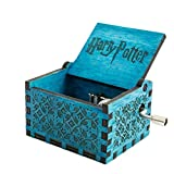 GEESENSS Wooden Music Box, Hand Shake Musical Box, Retro-Style Wooden Hand-Carved Square Music Box, Game of Thrones/ Harry Potter (6.4*5.2*4.2cm) (Style 1)