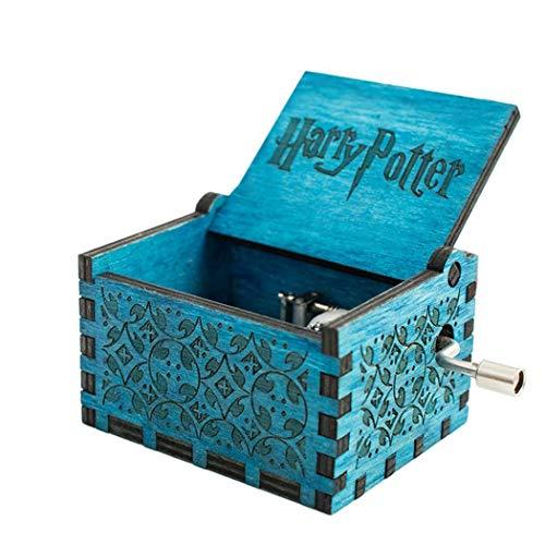 Cooshional Caja de Musica Harry Potter Estilo Retro de Madera Tallada a Mano (Azul)