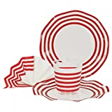 52-tlg. Einweggeschirr Party-Set Marianne mit Rotem Dekor | Pappgeschirr für 16 Personen: Pappteller + Becher + Servietten | für Festliche Anlässe und Partys