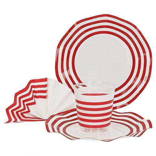 52-TLG. Einweggeschirr Party-Set Marianne mit rotem Dekor | Pappgeschirr für 16 Personen: Pappteller + Becher + Servietten | für Festliche Anlässe und Partys (Rot Party Pappteller)