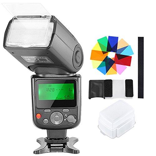 Neewer Kit TTL Speedlite Flash NW-670 con Diffusore Solido, 12 Filtri Colorati , per Canon 7D Mark II, 5D Mark II III, IV, 1300D, 1200D, 1100D, 750D, 700D & Altre Reflex Digitali