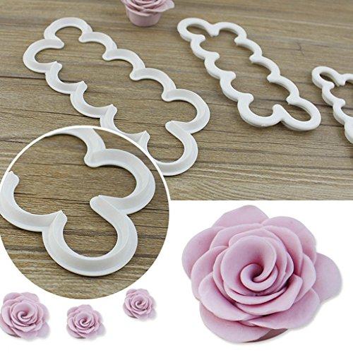 comprare on line Newcomdigi Kit di 3 Stampi Tagliapasta per Rose Decorazioni Torte Kit Pasticceria Decorazioni Cupcake 16/13/10cm Rose Facili e Veloci prezzo