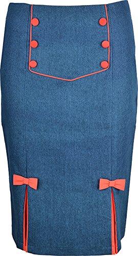 Küstenluder Damen Rock Berdie Jeans Sailor Bleistiftrock Blau XL