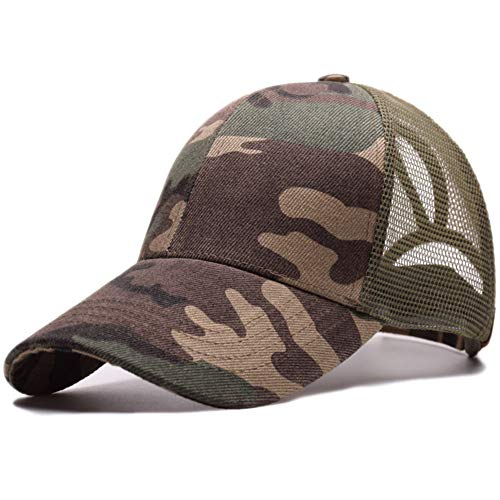 c8eb6ee63 Amkun Ponytail Baseball Cap Hat Ponycaps Messy Ponytail Adjustable Outdoor  Mesh Cap Trucker Dad Hat for Women Men (Camo)
