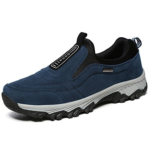 VILOCY Men's Suede Leather Hiking Trekking Shoes Slip On Outdoor Sports Camping Sneaker Casual Walking Loafers Shoe Navy 45