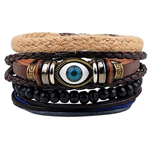 Winter Secret de tendance Conséquence mauvais œil Motif cuir Marron tressé à la main en bois Perles Wrap Bracelet