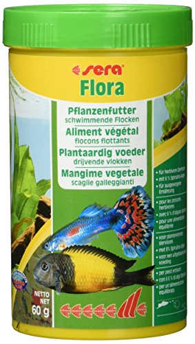 sera 00650 flora 250 ml - Die Grünflocken mit viel Spirulina für lebendgebärende Zahnkarpfen, Malawi- und Tanganjika Cichliden im Süßwasser- und Meerwasseraquarium