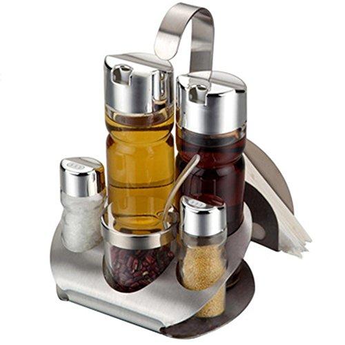 Qin.j.fang acciaio inox oliera set 5 pezzi  olio e aceto, in acciaio inox e vetro, salsa aceto cruet set barattoli porta spezie,b
