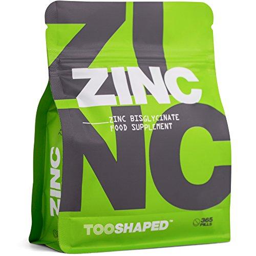 Zink Tabletten (Bisglycinat) – 25 mg (hochdosiert – maximal bioverfügbar – 365 vegane Tabletten im Jahresvorrat von TOOSHAPED