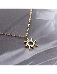 Simsly Collier avec pendentif soleil tendance pour femme ou fille, collier  simple en or ou b82cba234325