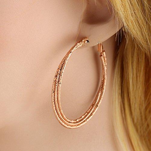 Les trois couches Nuolux Fashion Style femmes filles 18K oreille plaqué or pendentifs boucles d'oreilles (or) Rose Gold