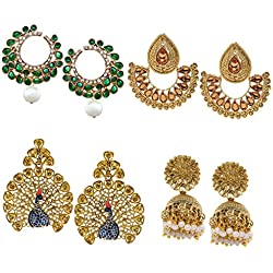Zaveri Pearls Jhumki Earrings for Women (Golden)(ZPFK6029)