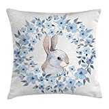 Jolly2T Landscape Throw Pillow Cushion Cover by, Bunny Rabbit Portrait in Floral Wreath Illustration Country Style Decor, Decorative Square Accent Pillow Case, 18 X 18 Inches, Blue Grey White