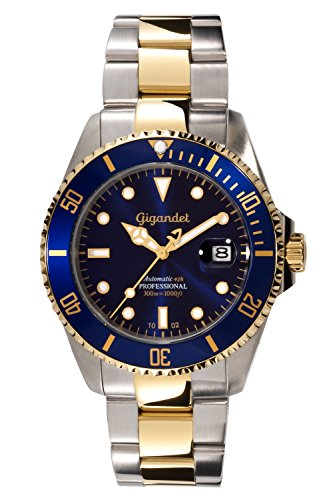 Gigandet Automatik Herrenuhr SEA GROUND Analog silber blau gold Edelstahl-Armband Uhr Herren, Luxus Automatikuhr wasserdichte Uhr, G2-001 (Herren Taucheruhren Automatik)