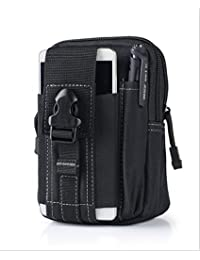 Black : Outdoor Military Tactical Belt Waist Bags Waterproof Mobile Phone Wallet Travel Sport Waist Pack Camping...