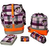 School-Mood – Set de mochila escolar Fly de 6 piezas foal & Cat 65 Purple Checked