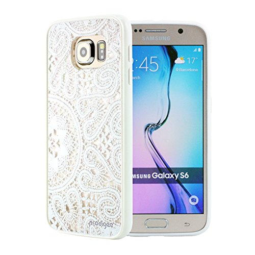 Prodigee Scene Lace White Galaxy S6 S 6 Clear Weiß Schutz dünn Hülle Stück dünner dünnfor klar Transparent Case Thin Slim 2 Piece Cover Lace Wrap-around Wrap