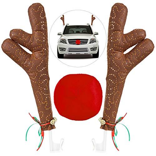 Unomor Weihnachts Rentier Kostüm Auto Set Dekoration Rote Nase Autoscheiben Dekorative