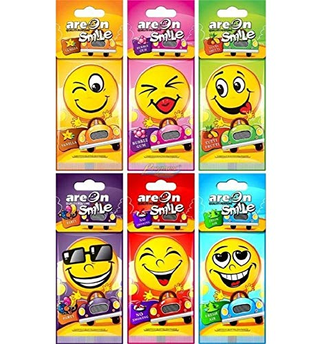 Areon Smile Deodorante Auto Assorted Da Appendere Specchietto Retrovisore Divertenti Set 24 ( 6 x 4 pieces )
