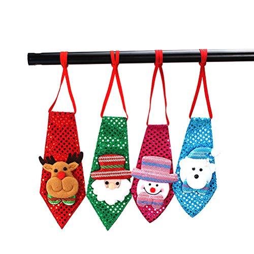 Comtervi 4pcs Corbatas navideñas, Corbatas muñeco de Nieve decoración navideña Fiesta Hombre Traje Corbata Regalo Creativo Adecuado para representaciones teatrales