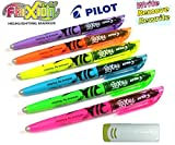 Pilot 4136s6 Surligneur Frixion Light, Lot de 6, rose/jaune/vert/bleu/violet/orange avec gomme