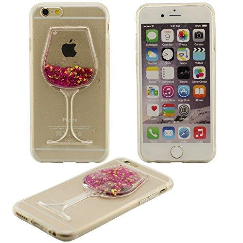 Fließfähige Flüssigkeit Phosphor-Sterne-Weinglas Hartplastik Schutzhülle case für Apple iPhone 6 6S Hülle 4.7 inch rot