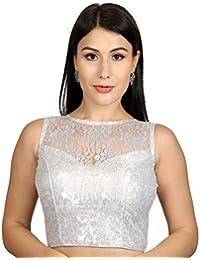 425bf94aa076f Rinkoo Womens Designer High Neck Dupion silk Full Net Padded Princess Cut  Sleeveless Readymade Saree Blouse