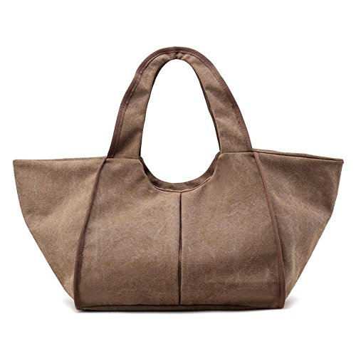 Leinentasche Damen-Schulter Einfache Studenten-große Tasche Brown