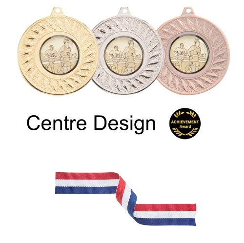 SPECIAL OFFER 50 x 50mm Metal Medals with Ribbons - Any Sport/Event