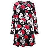 LQUYY Frauen Halloween Scary Bat Kürbis Spinne Smock Skater Swing Kleid,06,XL