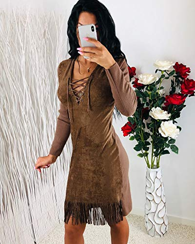 Vestido Antelina Manga Larga Falda Flecos Marron S/M