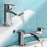 iBathUK | Chrome Basin Sink Mixer Tap + Bath Filler Bathroom Faucet Set TP456