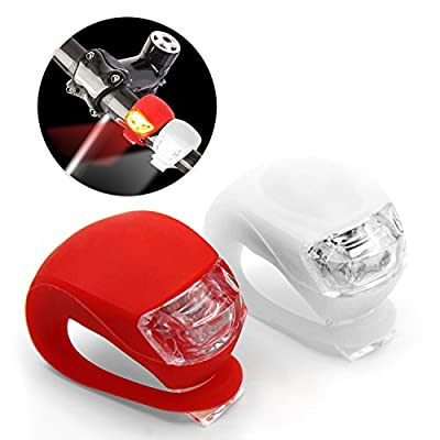 Mture LED FahrradBeleuchtung, Wasserdicht Leuchten, Silikon Clip-On Fahrradlampe Frontlicht Fahrradscheinwerfer Lampe 1 weiße & 1 rote Leuchte