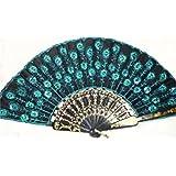 JUNGEN 1pcs eventail en forme de queue de paon tissu main décoratifs à la mode