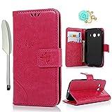 YOKIRIN G357 Wallet Case Hülle für Samsung Galaxy Ace 4 G357 SM-G357FZ (4.3 Zoll) Stand PU Leder Tasche Wallet Flipcase Schut Bookstyle Silikon Handy Brieftasche Handyhülle Schmetterling Rose Rot