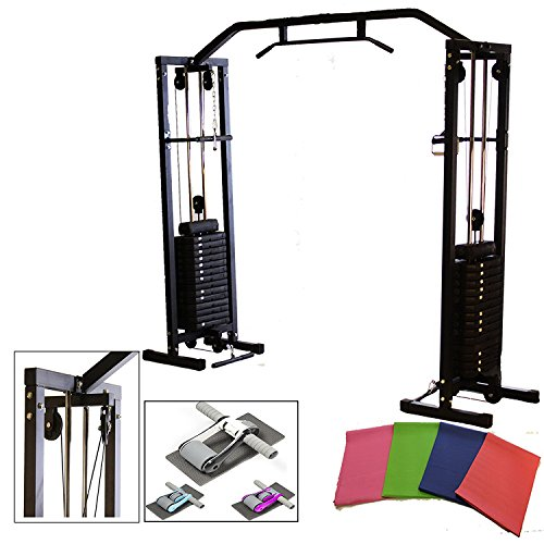 upgraded-2017-cable-crossover-machine-in-black-w-150kg-weight-pull-up-bar-free-ab-roller-mat-new-swi