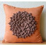 Warm Summer - Decorativa Funda de Cojin 50 x 50 cm, Square Orange Suede Brown Flor de Fieltro