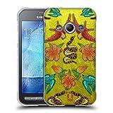 Head Case Designs Samt, Schlangen Und Voegel Gedruckte Patches Und Textilien Soft Gel Hülle für Samsung Galaxy Xcover 3