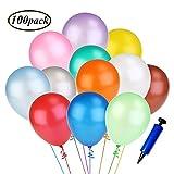 Swallowzy 100 Luftballon und 1 Ballonpumpe, Luftballons mit pumpe, Partyballon, Farbige Ballons, Bunte Ballons für Geburtstagsfeiern, Party, Hochzeitsfeiern (Mehrfarbig)