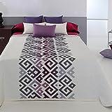 Couvre-lit 250x270 cm tissé jacquard LAWSON bordeaux pour lit de 160x200 cm fabriqué en Espagne C/09