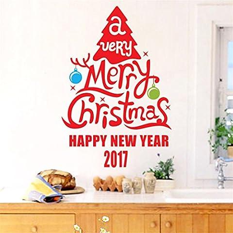 ZARU Decoración de Navidad etiqueta de la ventana pegatinas decoración del hogar ★extraíble★ C-3 árbol de Navidad