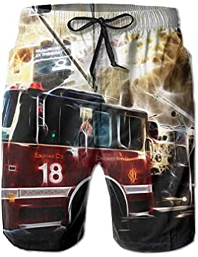 Fire Truck Wallpaper Pattern Men's/Boys Casual Shorts Swim Trunks Swimwear Elastic Waist Beach Pants with Pockets