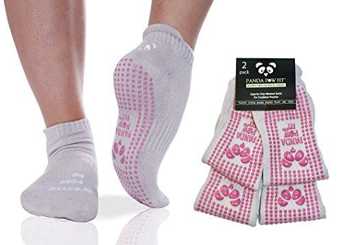 Les Meilleures Chaussettes Luxurieuses De Yoga Antidérapantes De Bambou Pour Pilates Bikram HOT Yoga Chaussettes Avec Des Semelles Antidérapantes Pour Une Stabilité Optimale [2 Pack Stone Rose]