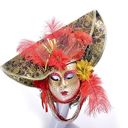 Edelehu Halloween Party Maske Hochwertige Rosa Handbemalte Feine Federn Mit Blumen Cosplay Kostüm Bandana Glamour Weibliche Maske