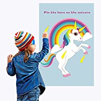 AerWo Pin The Horn on The Unicorn Party Games for Families with Kids Party Games Unicorn Rainbow Birthday Party Supplies