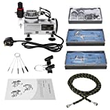 KKmoon Airbrush Air Compressor Kit,3 Airbrushes+Mini Air Compressor+Braided Air Hose+Cleaning Brush,Gravity Feed Dual