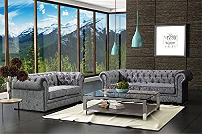 Lovesofas Camden Chesterfield 3 + 2 Seater Crushed Velvet Sofa Suite - Silver / Grey by Love Sofas
