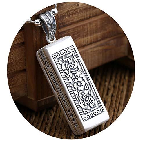 SonMo 925 Sterling Silber Unisex Halskette Mundharmonika Quadrat Kettenanhänger Frauen Silber Pullover Kette Nur Anhänger Gothic Glücksbringer Halskette als Amulett