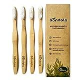 Cepillo de dientes natural de bambú Paquete de 4 cepillos de dientes de tamaño adulto Ecológico 100% vegano sin BPA Empaquetado biodegradable Cerdas blandas Por 'Gondola'
